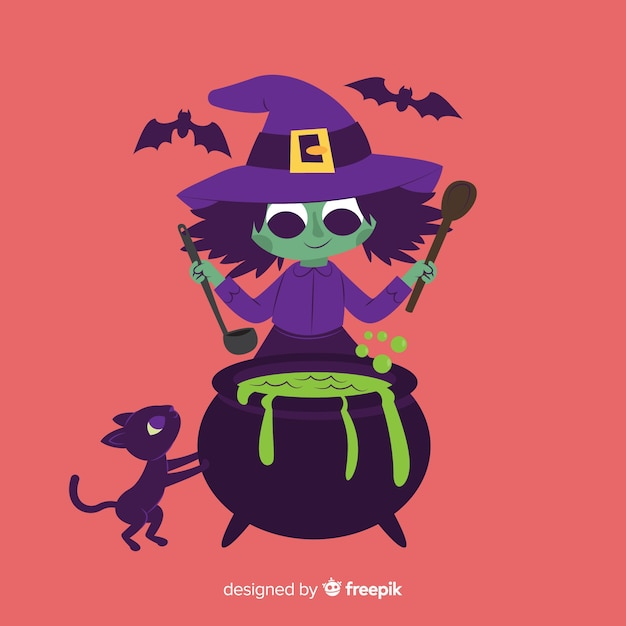 Leuke halloween-cartoonheks Gratis Vector