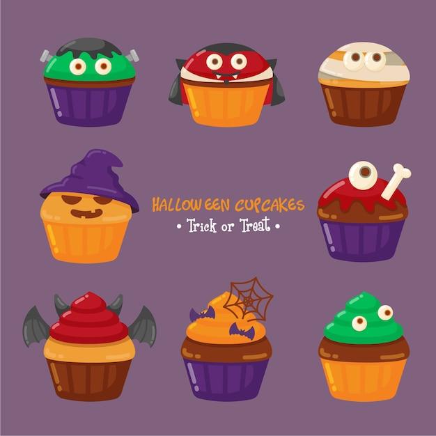 Leuke halloween-cupcake set Premium Vector