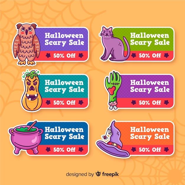 Leuke halloween-etiketten met decoratie Gratis Vector