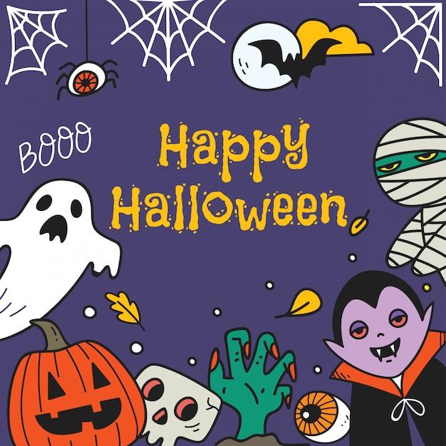 Leuke halloween-groetkaart met halloween-stripfiguren Premium Vector