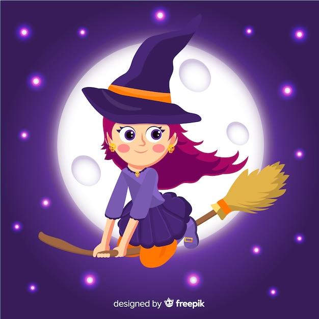 Leuke halloween-heks die in een sterrige nacht vliegt Gratis Vector