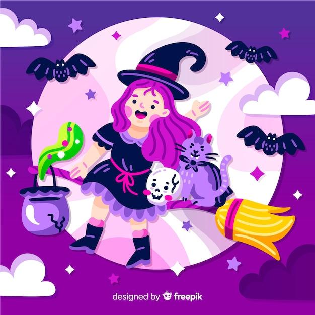 Leuke halloween-heks die naar de maan vliegt Gratis Vector