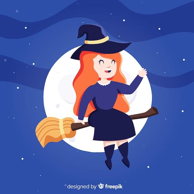 Leuke halloween-heks met een bezem Gratis Vector