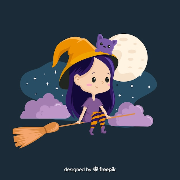 Leuke halloween-heksenzitting op een bezem Gratis Vector