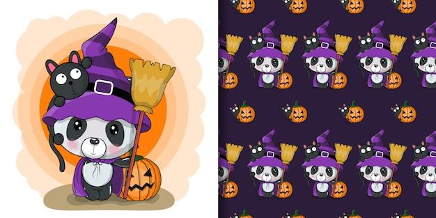 Leuke halloween-illustratie van beeldverhaalpanda met pompoen, naadloos patroon Premium Vector