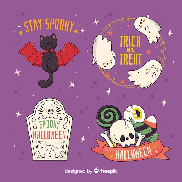 Leuke halloween-karakterkentekens op violette achtergrond Gratis Vector
