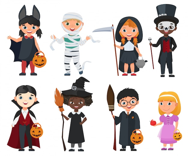 Leuke halloween kinderen set Premium Vector