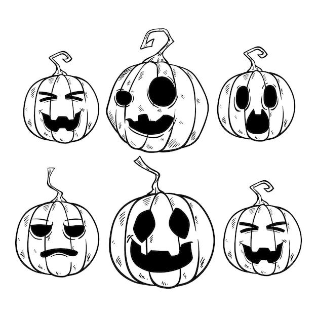Leuke halloween-pompoeninzameling Premium Vector