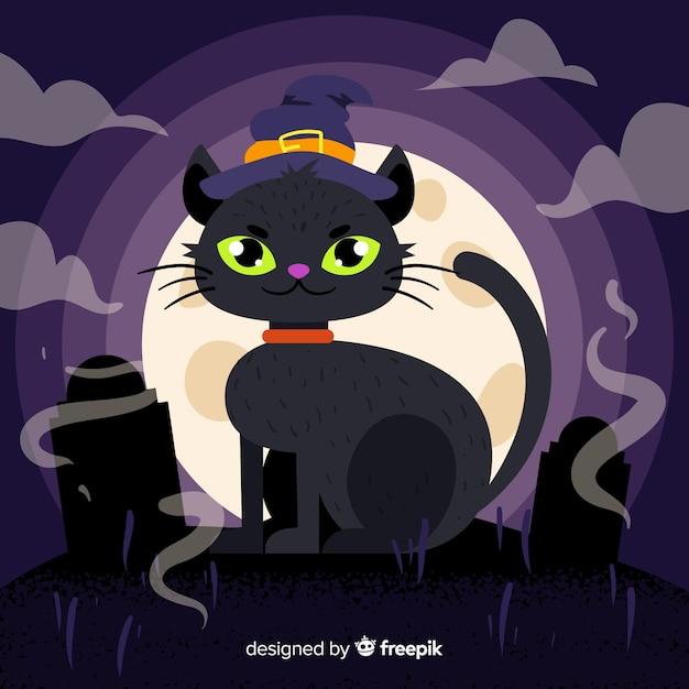 Leuke halloween zwarte kat op platte ontwerp Gratis Vector
