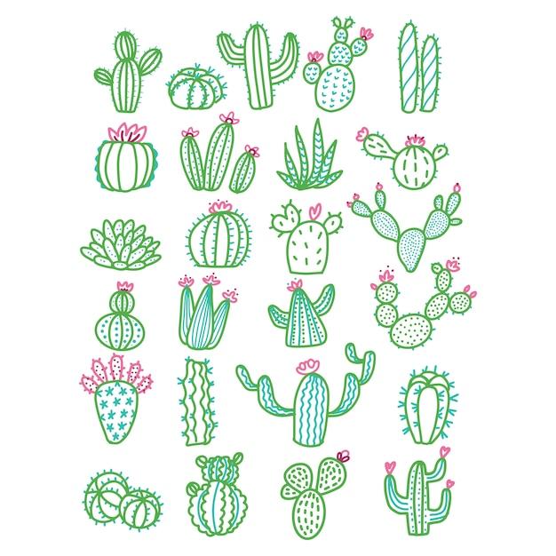 Leuke hand getrokken cactus zonder pottenkleur geschetste illustratie. Premium Vector