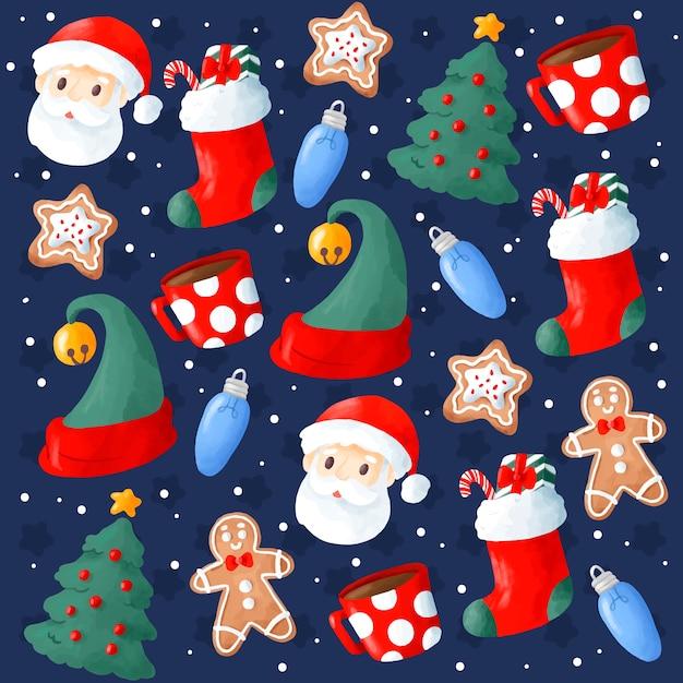 Leuke hand getrokken kerstmisachtergrond Gratis Vector