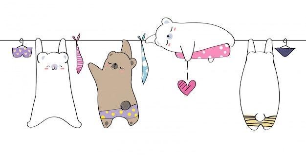 Leuke hand tekenen wild dier familie groet cartoon doodle behang Premium Vector