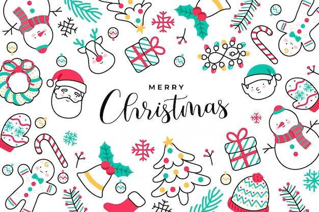 Leuke handgetekende kerst achtergrond Gratis Vector