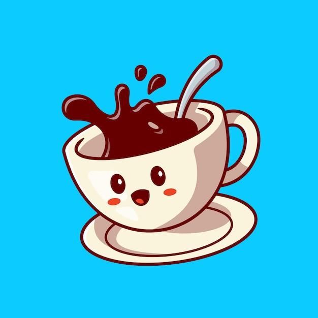 Leuke happy coffee cup cartoon vectorillustratie pictogram. drinken karakter pictogram concept. platte cartoon stijl Gratis Vector