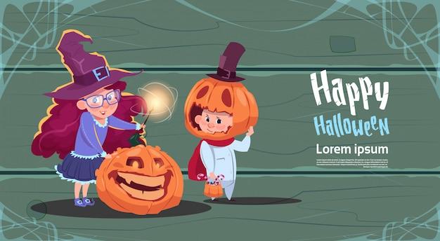 Leuke heks en vogelverschrikker, gelukkig halloween-de vieringsconcept van de bannerpartij Premium Vector