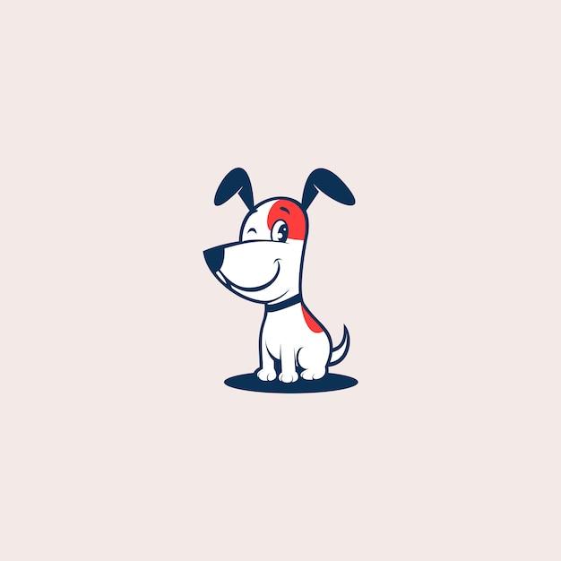 Leuke hond logo ontwerp vectorillustratie Premium Vector