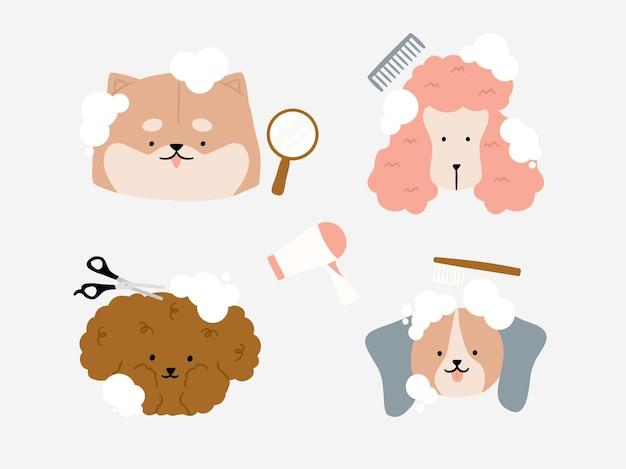 Leuke hond met bubbel bij groomer salon hondvriendelijk gebied. dierenkapsalon, styling- en verzorgingswinkel. dierenwinkel voor honden met elementen gesneden wol, kamborstel, drogen, handspiegel en kamillustratie. Premium Vector