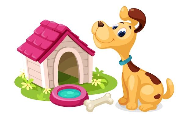 Leuke hond met hondenhuis cartoon Gratis Vector