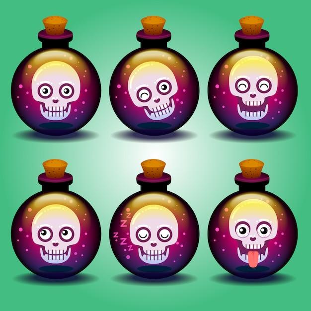 Leuke horror emoticons schedel in een fles Premium Vector