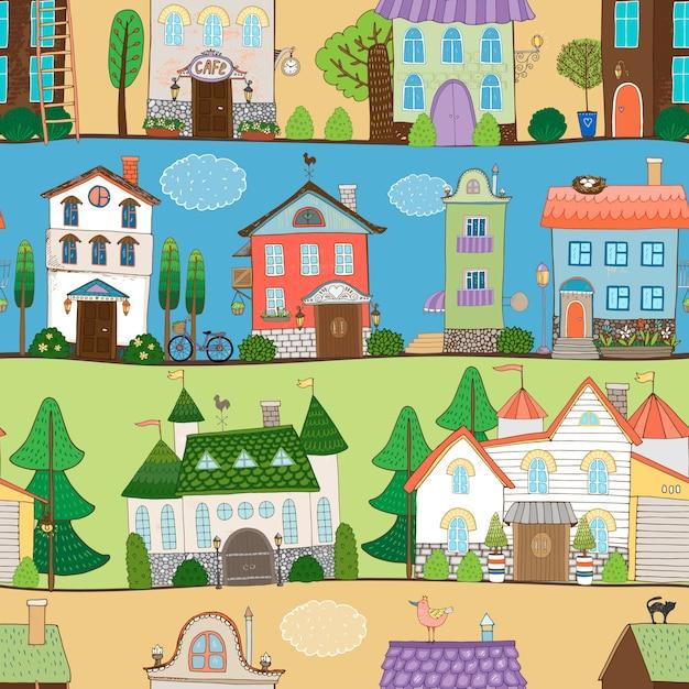Leuke huizen, kastelen en etablissementen ontwerpen in verschillende omgevingen Gratis Vector