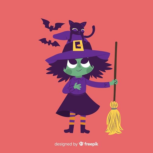 Leuke illustratie met halloween-heks Gratis Vector