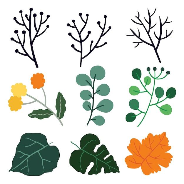 Leuke illustratie van bladeren. Premium Vector
