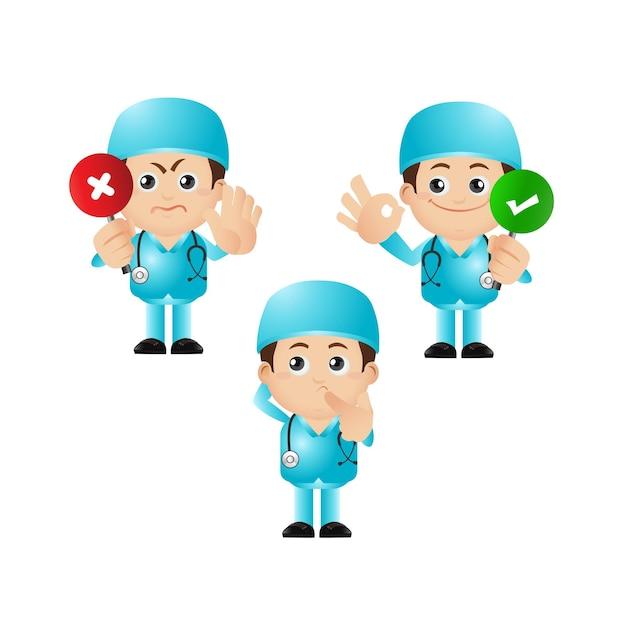 Leuke illustratie van dokterspersonages Premium Vector