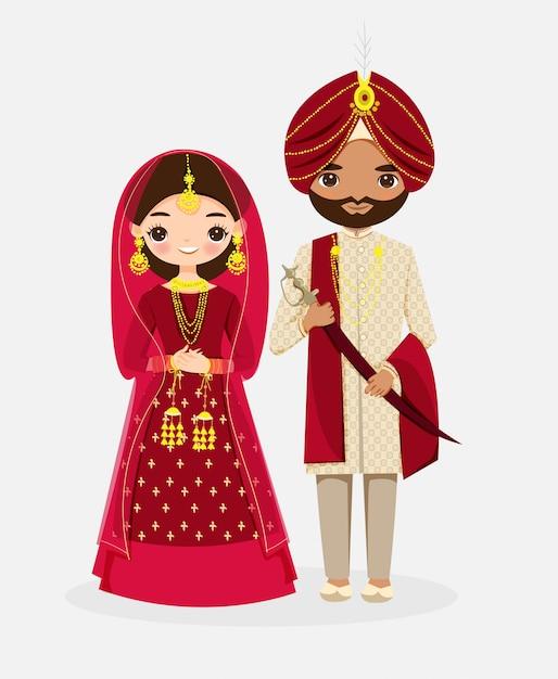 Leuke indiase bruid en bruidegom stripfiguur in rode traditionele kleding Premium Vector