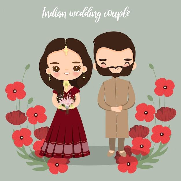 Leuke indiase bruid en bruidegom voor bruiloft uitnodigingen kaart Premium Vector