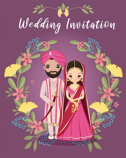 Leuke indische bruid en bruidegom met bloemenkroon voor de kaart van huwelijksuitnodigingen Premium Vector