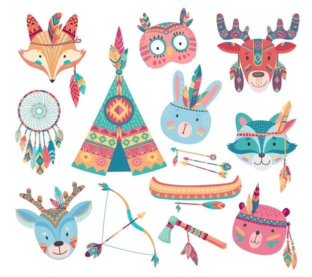 Leuke inheemse amerikaanse of indische dierlijke pictogrammen met tribale veren hoofdtooien Premium Vector
