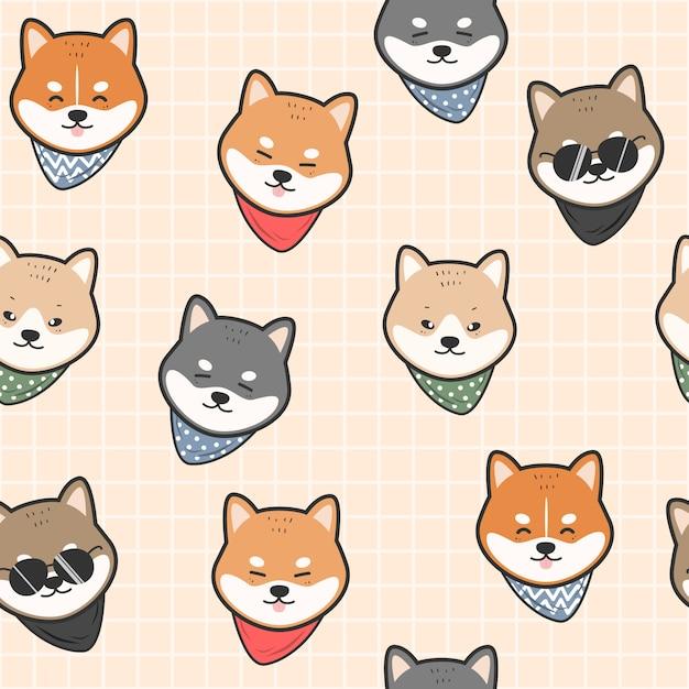 Leuke japanse hond shiba inu cartoon naadloze patroon Premium Vector