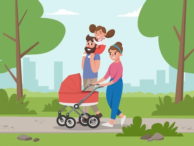 Leuke jonge familie voor wandeling. Premium Vector