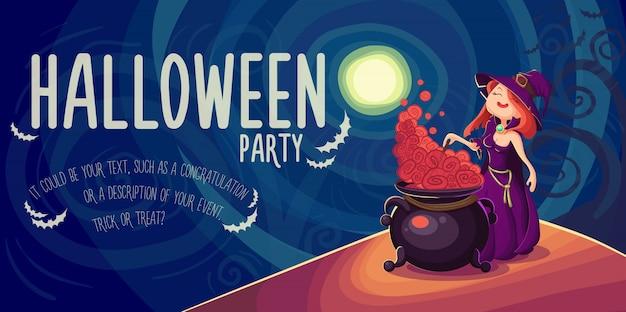 Leuke jonge heks halloween-kaart Premium Vector