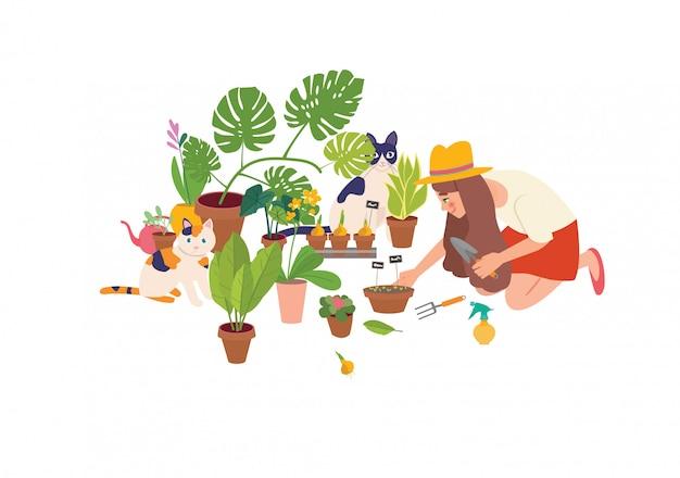 Leuke jonge vrouw die met tuinschop kamerplanten behandelt die in potten of plantenbakken groeien. stedelijke jungle interieur, lente. Premium Vector
