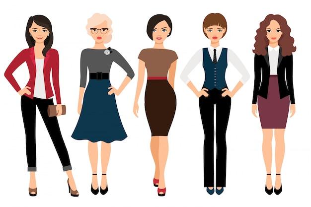Leuke jonge vrouwen in verschillende stijl kleding vectorillustratie. zakenvrouw en office meisje karakter geïsoleerd Premium Vector