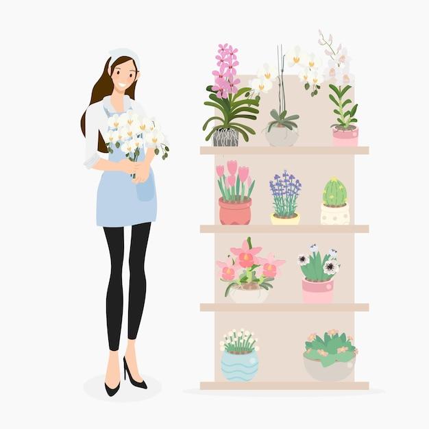Leuke jonge vrouwenbloemist in bloemenwinkel Premium Vector
