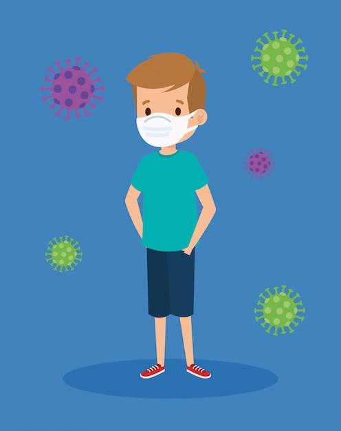 Leuke jongen die gezichtsmasker met deeltjes covid 19 illustratieontwerp gebruikt Gratis Vector