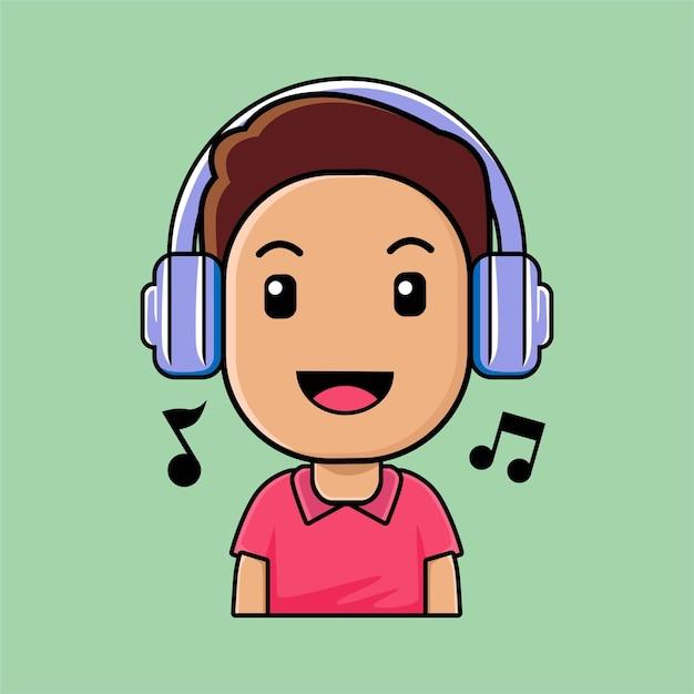 Leuke jongen die hoofdtelefoons het luisteren muziekbeeldverhaalillustratie draagt Premium Vector