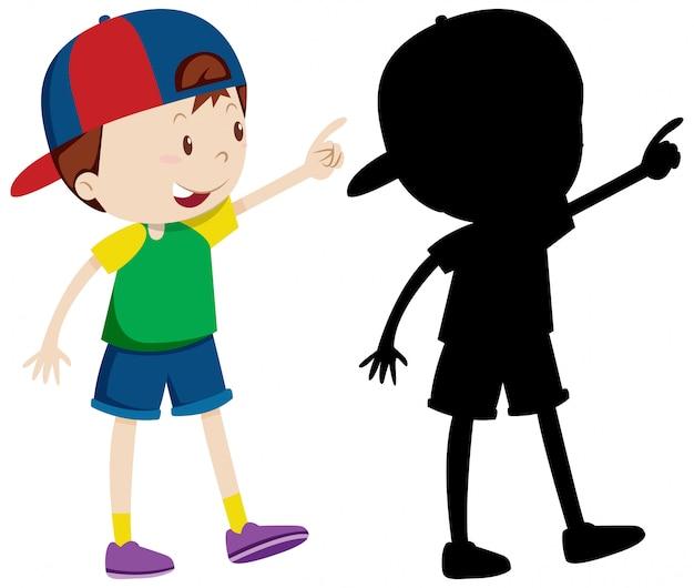 Leuke jongen die pet in kleur en silhouet draagt Gratis Vector