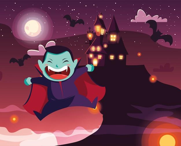 Leuke jongen die van vampier in scène van halloween wordt vermomd Premium Vector