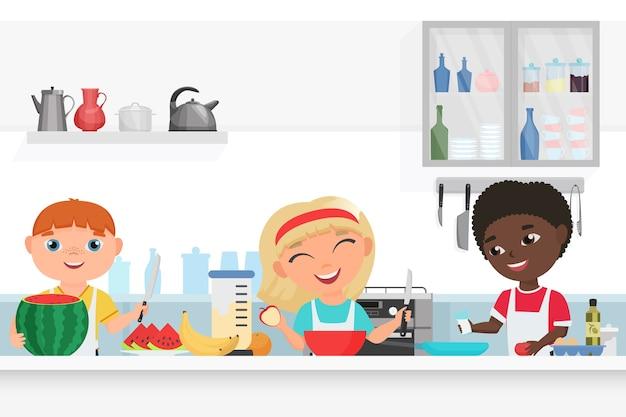 Leuke jongen en meisje kinderen chef-kok koken in de keuken Premium Vector