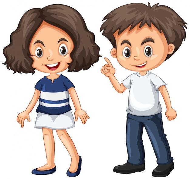 Leuke jongen en meisje met blij gezicht Gratis Vector