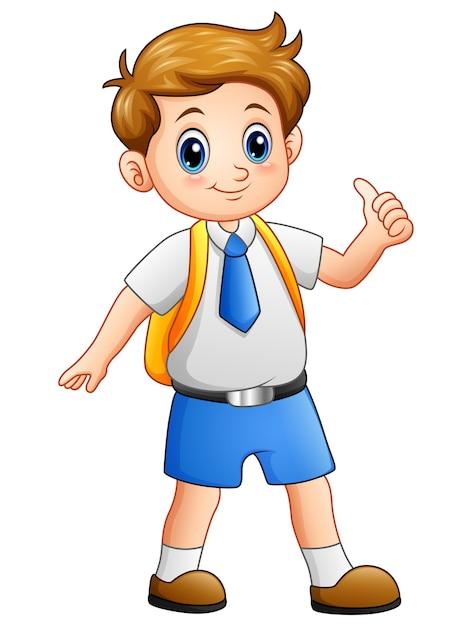 Leuke jongen in een schooluniform duimen opgevend Premium Vector