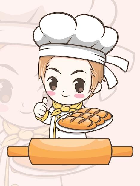 Leuke jongen van de bakkerijchef-kok die een brood voorstelt - stripfiguur en logo illustratie Premium Vector