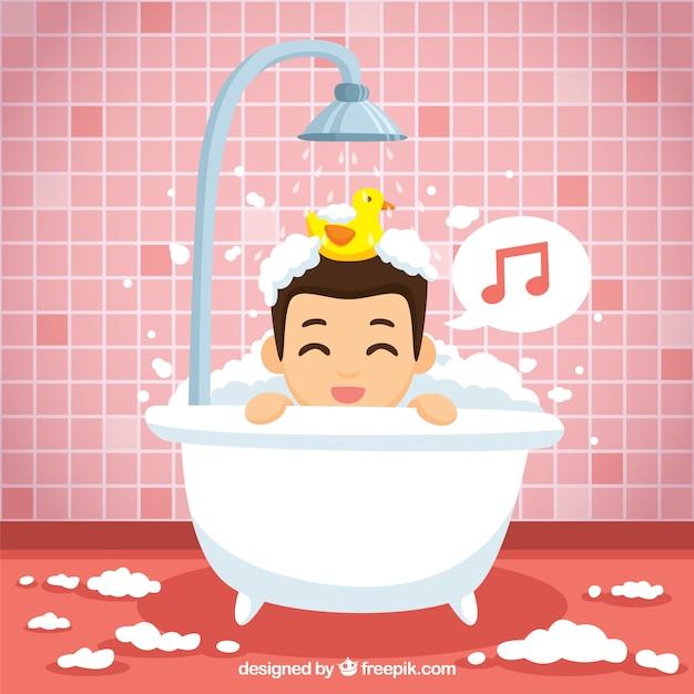 Leuke jongen zingen in de badkamer Gratis Vector