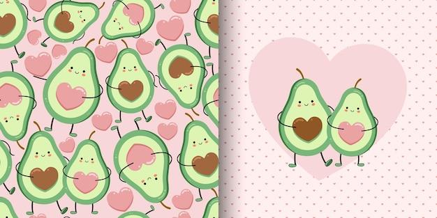Leuke kaart en naadloos patroon met avocadoliefhebbers. Premium Vector