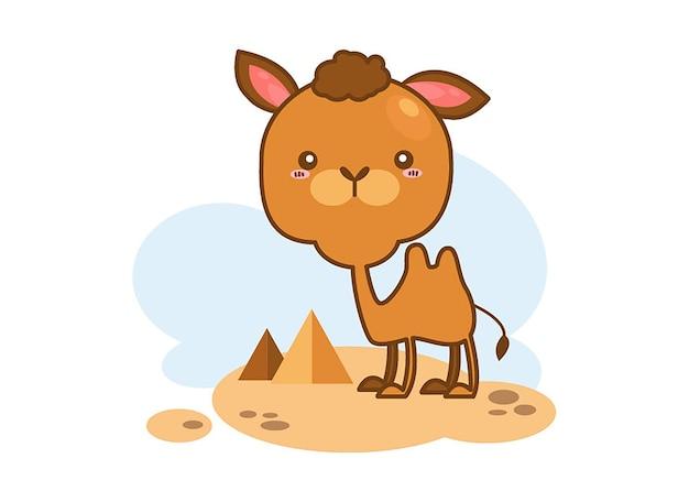 Leuke kameel in de woestijn op een witte achtergrond Premium Vector