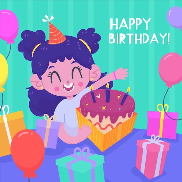 Leuke karakter gelukkige verjaardag met cake Gratis Vector