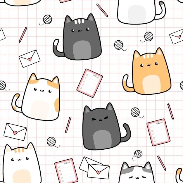 Leuke kat kitten en spullen cartoon doodle naadloze patroon Premium Vector